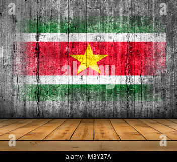 Suriname  flag painted on concrete with wooden floor - Stock Photo