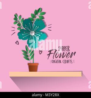 paper flower digital craft - Stock Photo