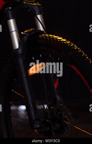 mountain bike fork isolated on black background - Stock Photo