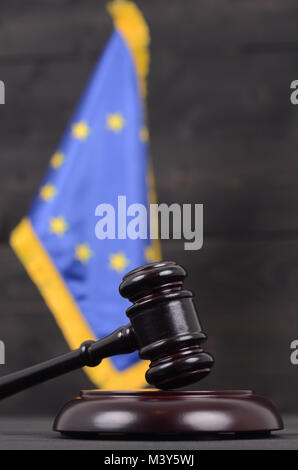 Law and Justice, Legality concept, Judge Gavel and European Union flag on a black wooden background. - Stock Photo