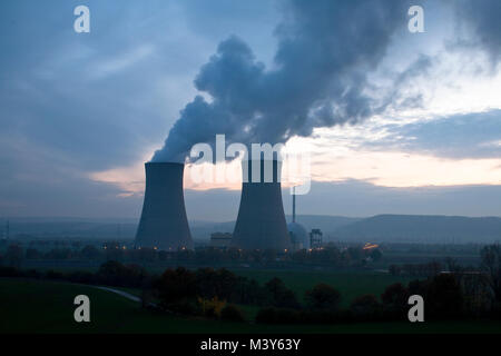 Nuclear power plant Grohnde in Germany at a cloudy dawn - Stock Photo