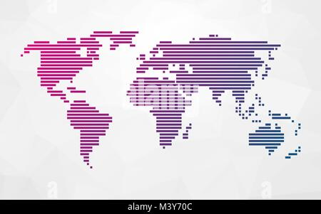 Simple map of the world made up of black stripes on a light stock simple world map made up of colored stripes on a bright triangular background stock photo gumiabroncs Images