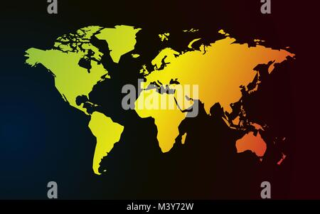 color gradient map of world dark background - Stock Photo