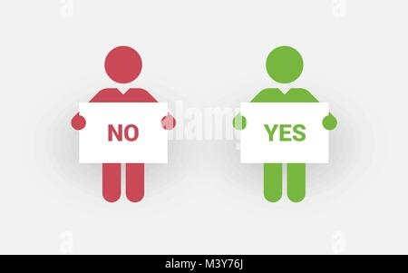 Red and green silhouettes of two men with a sign right and wrong - Stock Photo