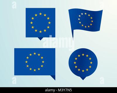 Flag of the European Union as a pin - Stock Photo