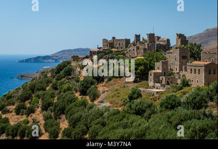 Vatheia, a village on the Mani Peninsula, in Peloponnese, Greece. A major tourist attraction and iconic example - Stock Photo