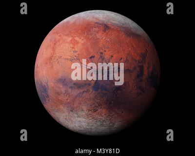 planet Mars during the Martian winter, isolated on black background, elements of this image are furnished by NASA - Stock Photo