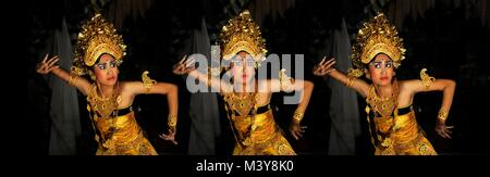 Indonesia, Nusa Tenggara, Bali, Ubud, Puri Saren, traditional Balinese Legong dance, dancer from the Bina Remaja - Stock Photo