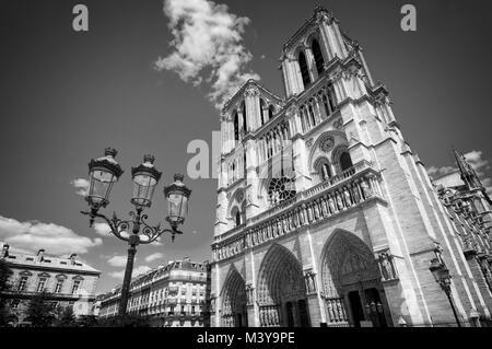 Notre Dame de Paris black and white, France - Stock Photo