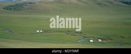 Mongolia, Arkhangai Province, Snake Valley, nomad camp and yurts - Stock Photo