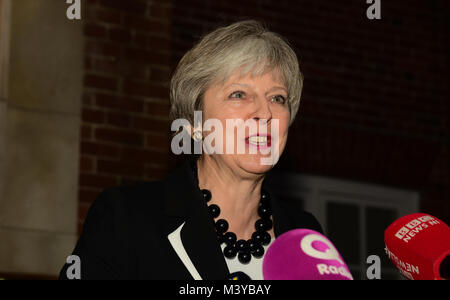 Belfast, UK. 12th Feb, 2018. Prime Minister Theresa May gives a press conference at Stormont House in Belfast as - Stock Photo