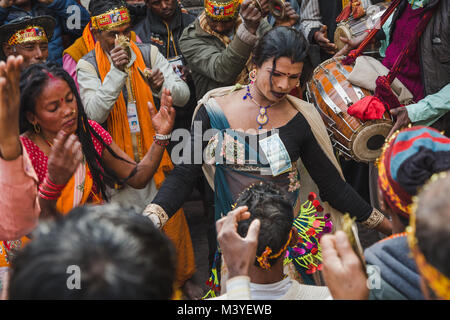 Kathmandu, Nepal. 12th Feb, 2018. Hindu devotees dancing to make Lord Shiva happy at Bol Bom and Mahashivaratri - Stock Photo