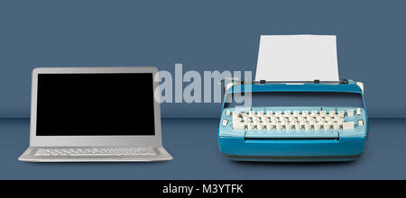Old electric typewriter with laptop on blue table background - Stock Photo
