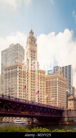 A view of the Wrigley Building and the DuSable Bridge in Chicago, Illinois. - Stock Photo