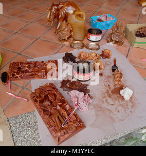 BALI, INDONESIA - August 16, 2017: Wood carving in Bali Indonesia. Often decorates gardens