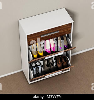 Contemporary wooden shoe cabinet design. 3D illustration. - Stock Photo