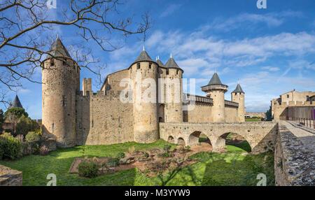 Chateau Comtal - 12th-century hilltop castle in Carcassonne, Aude, France - Stock Photo