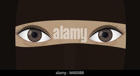 Young woman in niqab. Ethnic headdress. Brown eyes. Vector illustration - Stock Photo