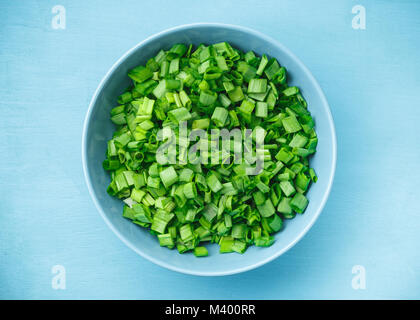 Sliced, chopped spring, salad, green onions or scallions with sour cream in a bowl on the blue background - Stock Photo