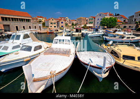 Island of Prvic harbor and waterfront view in Sepurine village, Sibenik archipelago of Croatia - Stock Photo