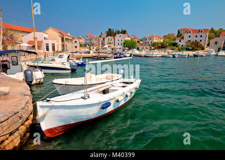 Island of Prvic turquoise harbor and waterfront view in Sepurine village, Sibenik archipelago of Croatia - Stock Photo