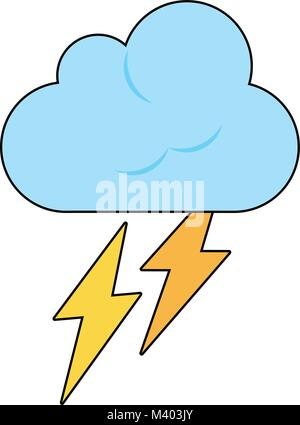 Cloud with thunderbolts - Stock Photo