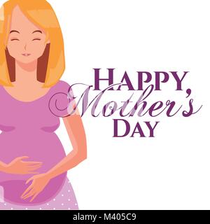 Happy mothers day cartoon - Stock Photo