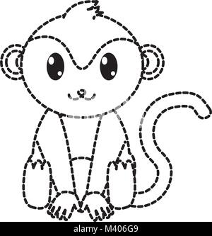 dotted shape monkey cute wild animal character stock photo
