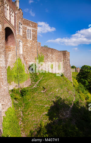 Medieval Dover Castle outer curtain wall, Kent,  Southern England, UK - Stock Photo