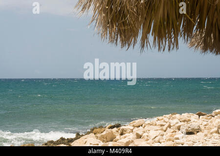 White sandy beaches in Montego Bay, Jamaica. Lots of vegetation and ocean views. Island life at its finest, picturesque, - Stock Photo