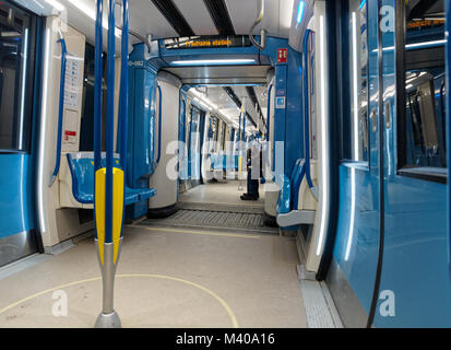 Interior of the new Azur metro cars in Montreal,Canada - Stock Photo