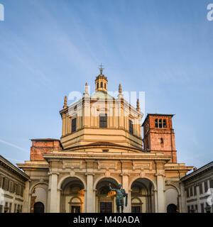 Colonne di San Lorenzo or Columns of San Lorenzo is a group of ancient Roman ruins, located in front of the Basilica - Stock Photo