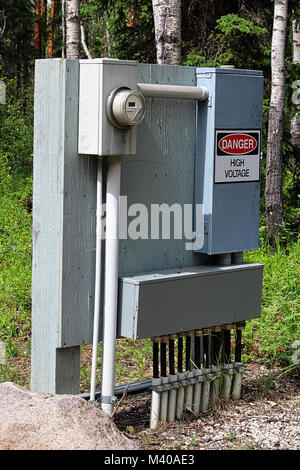 A large electrical box at a campground. - Stock Photo