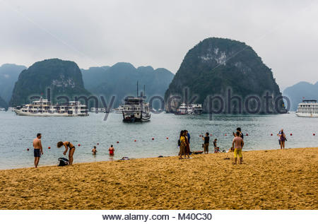 Beach on Ti top Island in Halong Bay, North Vietnam. The bay features 3,000  limestone and dolomite karsts and islets - Stock Photo
