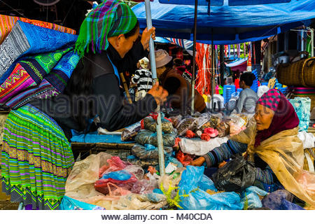 Flower Hmong (hill tribe) women at the Sunday market at Bac Ha, northern Vietnam. Every Sunday, ethnic minorities - Stock Photo