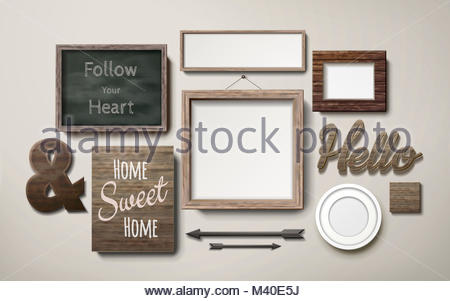 Hanging picture frame on a chalkboard background Stock Photo ...