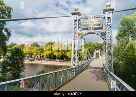 Chester city, Queen's Park Bridge, River Dee,  sunny, England, UK - Stock Photo