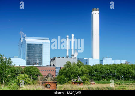 Combined heat and power plant valves Deep Stack and historic cottage in cold stables, rothenburgsort, Hamburg, Germany, - Stock Photo