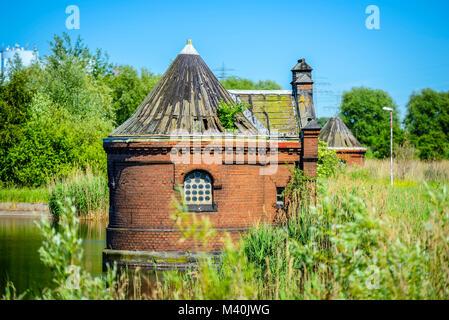 Historical spool cottage in cold stables, rothenburgsort, Hamburg, Germany, Europe, Historische Schieberhäuschen - Stock Photo
