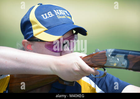 Navy Petty Officer 3rd Class Taylor Kane, a member of the Navy Skeet Team, practices during the 2015 Armed Services - Stock Photo