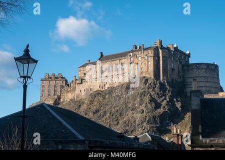 View of Edinburgh Castle the Vennel steps at Grassmarket in Edinburgh Old Town, Scotland, United Kingdom - Stock Photo