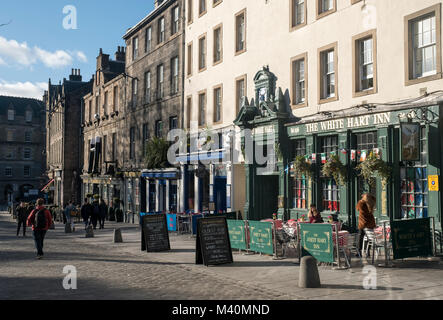 The Grassmarket in the old town area of Edinburgh. - Stock Photo