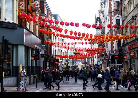 Chinese Hanging Lanterns in Chinatown London - Stock Photo