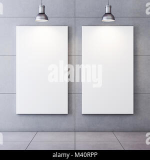 Concrete room with lighted blank canvases. 3D rendering - Stock Photo