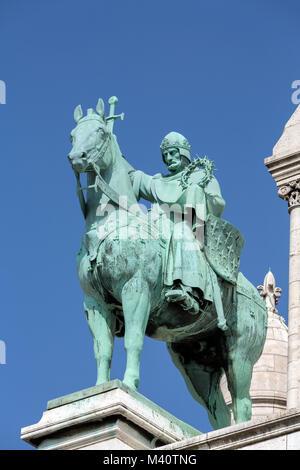Paris -  Equestrian Statue of Saint Louis on basilica Sacre Coeur - Stock Photo