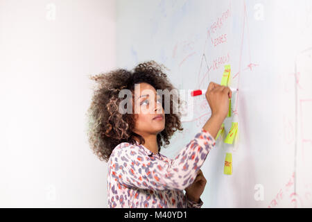 Student writing on white board - Stock Photo