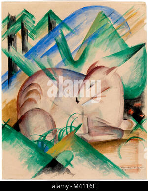 Franz Marc, Rotes Reh, Red Deer (1913) - Stock Photo