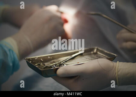 Doctor dentist performs a procedure local anesthesia during stomatology surgery - Stock Photo