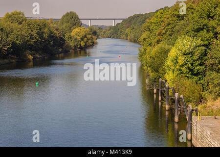 Ruhrtalbruecke (Ruhr Valley viaduct) with the River Ruhr, seen from Essen-Kettwig, Ruhr Area, North Rhine-Westphalia, - Stock Photo