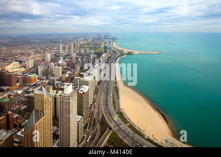 Aerial view of  North Chicago and Lake Michigan, Illinois, USA - Stock Photo